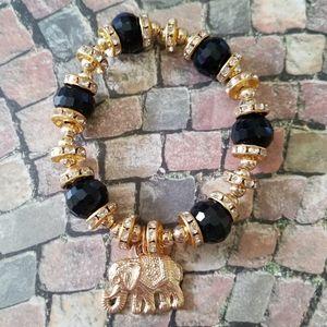 Black and gold elephant bracelet
